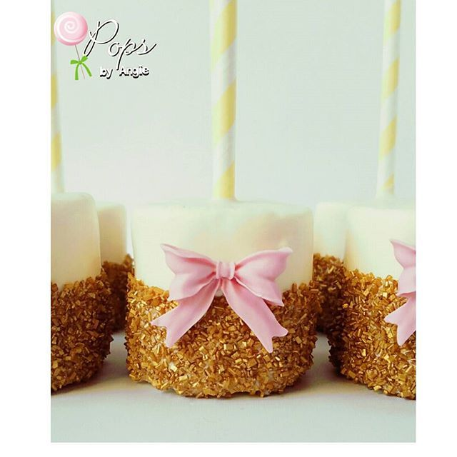 White & Gold Marshmallow Pops with Pink Bows