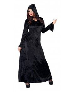 Dames Halloweenjurk met Capuchon Zwart