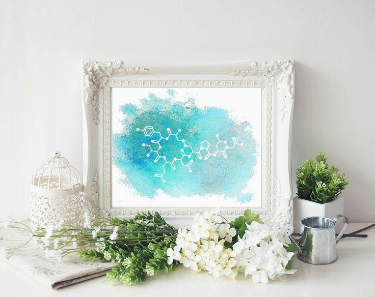Oxytocin Art Print - Molecule of Love Oxytocin Blue Watercolor Art Print - Unique Gift For Girlfriend - Gifts under 20 - Science Art Gift by Exaltation on Etsy https://www.etsy.com/listing/251605226/oxytocin-art-print-molecule-of-love