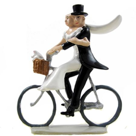 Newlyweds On A Bicycle Wedding Cake Topper Http Www Fancyflours