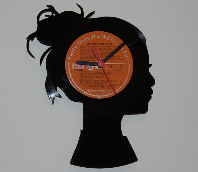 Vinyl Record Wall Clock - Woman's Head Profile