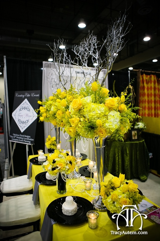 Love This Yellow And Black Centerpiece