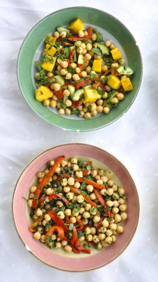 1. Compliment any main course from fish to grilled steak or chicken kabobs. 2. Require no cooking – just washing, chopping, and whisking. 3. The protein packed chickpeas please vegetarian, vegan, gluten free, and meat eaters alike. 4. The perfect thing to have sitting in your fridge for a light lunch or quick snack.