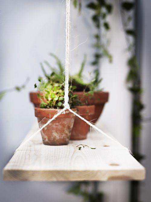 Dit, maar een hangende houten plantenbak tegen je muur kan ook gewoon natuurlijk.