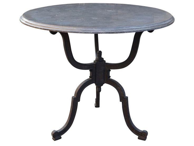 Four Hands Hughes 36 Round Bluestone Iron Bistro Pedestal Table