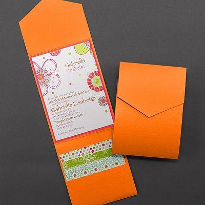 Bright Floral Shimmer Pocket -  Invitation