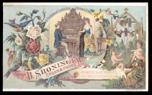 1880s-NEWHAVEN-CT-SHONINGER-ORGAN-amp-PIANO-CO-TRADE-CARD-ORNATE-W-FACTORY-TC867