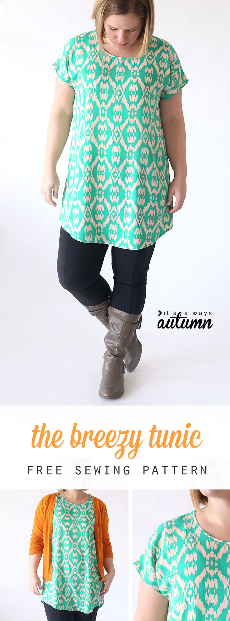 This easy to sew tunic pattern only has two pieces and is free in women's size…