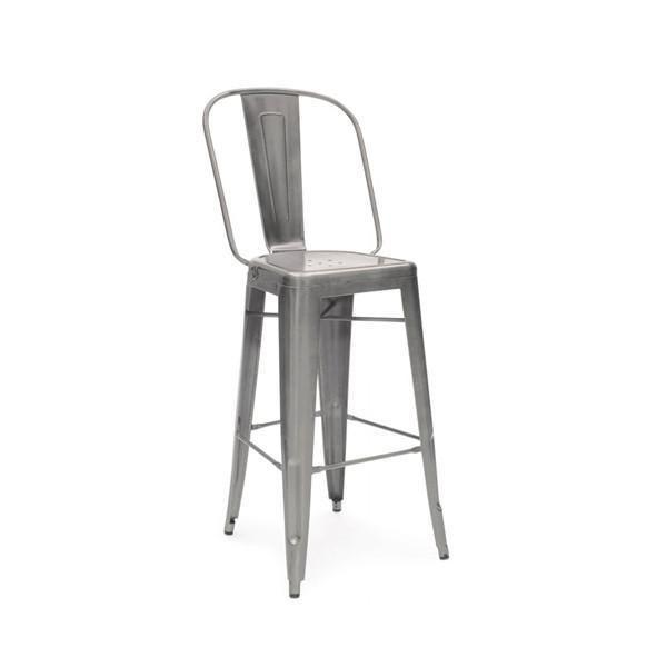 Dreux Clear Gunmetal Steel Bar Chair 30 Set Of 4 Bar Chairs