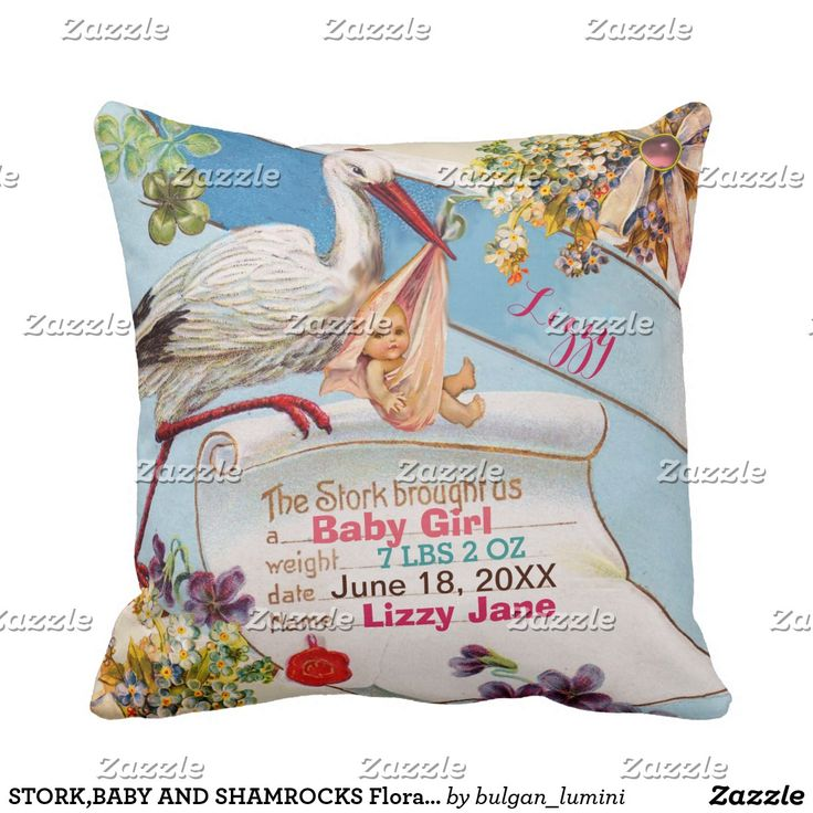 STORK,BABY AND SHAMROCKS Floral Pink Girl Baby Stats Throw Pillow