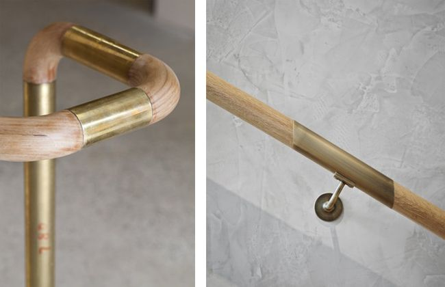 "left - brass and wood handrail by CODA Studio, photo by Peter Bennetts; right - custom brass and wood ""Sleeve"" handrails  by Mim Design for the Australia based company Little Group, photo by Peter Clarke."