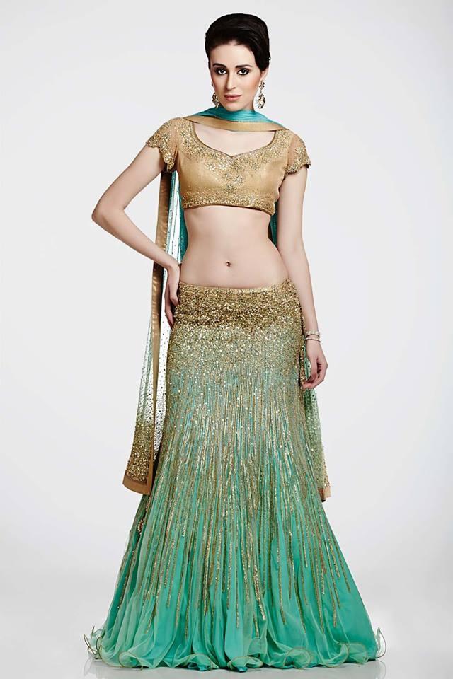 Satya Paul gold and sea green lehenga
