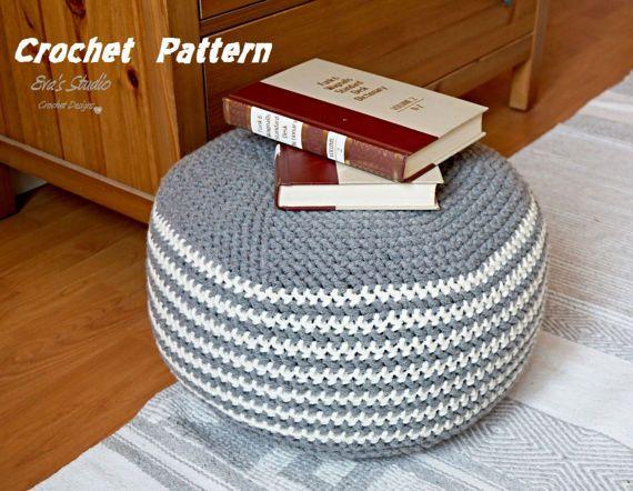 Pattern Crochet Pouf  Pdf Floor cushion Patterns by EvasStudio