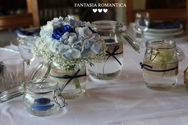 Country style with blue roses and pastel hydrangea in jar - - - Planning & Flower Design Francesca Peruzzini www.fantasiaromantica.com | Wedding in Italy - Tuscan Villa | Florence