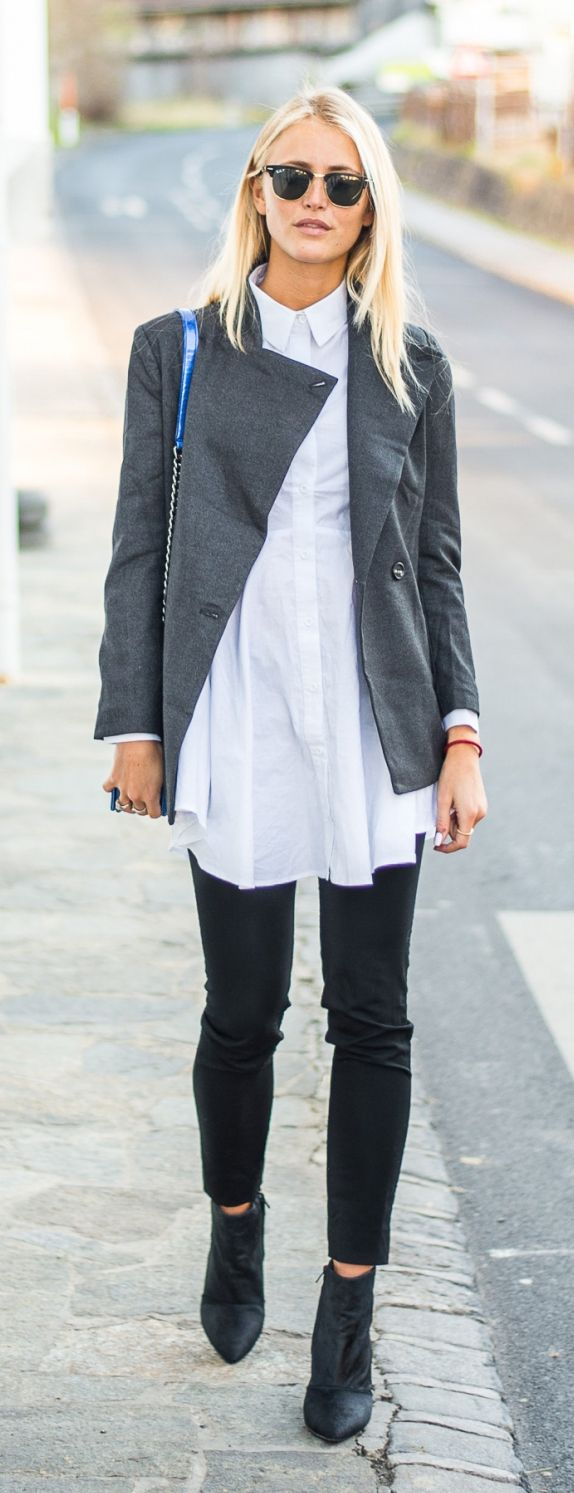 Janni Deler is wearing a grey jacket from Sanne Alexandra, a white shirt from Sheinside, cropped black trousers from All Saints pants and the shoes are from Jennie-Ellen