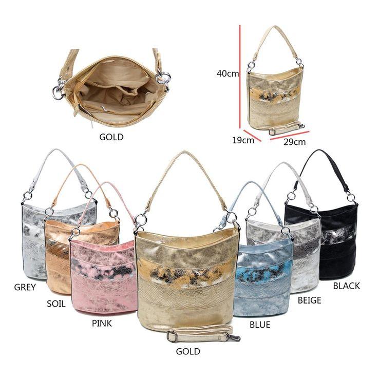 OBC DAMEN TASCHE SHOPPER METALLIC Henkeltasche Schultertasche Umhängetasche Handtasche Beuteltasche Hobo-Bag Handtasche – Italyshop24.com