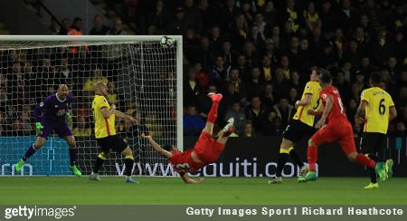 Emre Can scored a jaw-dropping overhead kick goal to hand Liverpool a 1-0 win away at Watford on Monday night