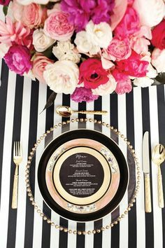 place settings Black White glittering gold etching glass stripes table linen charger glamorous garden roses victorian plates flatware lush