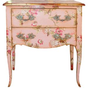 pink: Paintings Furniture, Side Tables, Paintings Chest, Decoupage Furniture, Shabby Chic, Vintage Pink, Pink Furniture, End Tables, Vintage Style