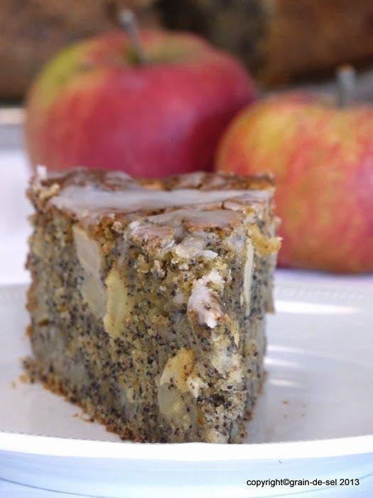 grain de sel - salzkorn: Rundumversorgt: Apfel-Mohn-Kuchen mit Buttermilch Achtung: große  Backform. Füllte bei mir  1 Kuchen plus 8 Muffinförmchen