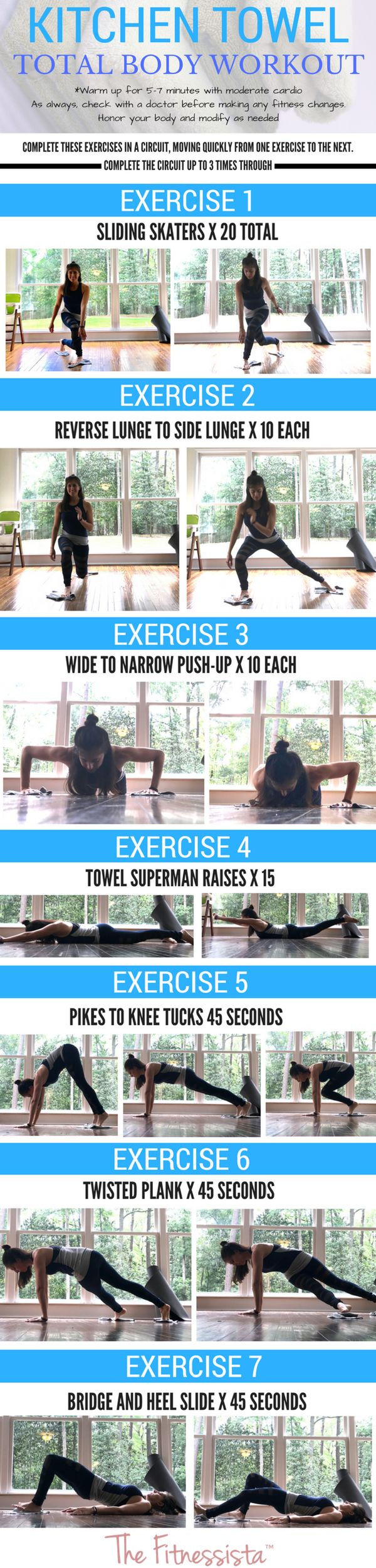 Kitchen towel workout! A perfect rainy day workout, or quiet indoor workout to work your entire body. fitnessista.com