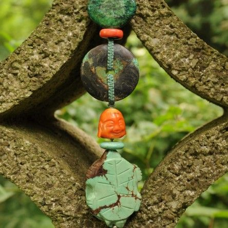 Long Turquoise Necklace - made of antique Chinese turquoise carvings with coral Buddha.