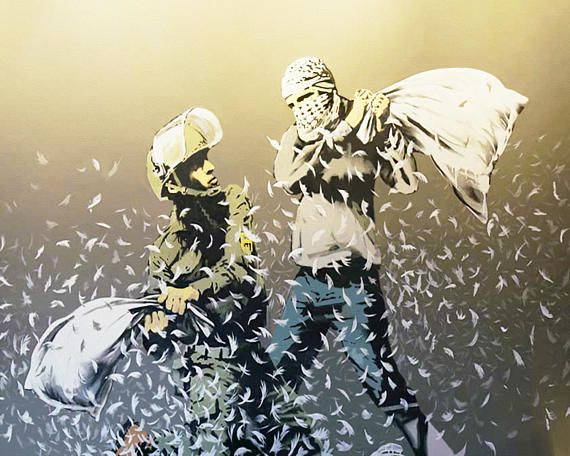 Banksy Canvas (READY TO HANG) - Pillow Fight - Multiple Canvas Sizes