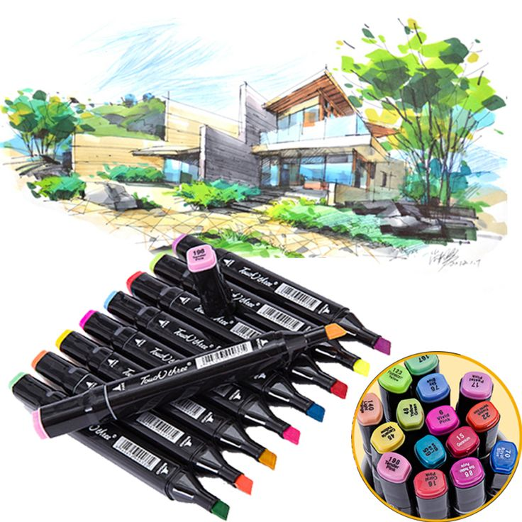 60 colors/set Drawing Marker Pen Architectural design Art Markers for Alcohol copic Dual Headed brush pen Artist Sketch pen-in Art Markers from Office & School Supplies on Aliexpress.com | Alibaba Group