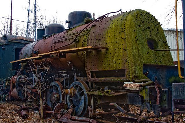 These rusting railway engines appear to be abandoned in a sort of train graveyard at the New Hope and Ivyland Railroad in Pennsylvania, United States