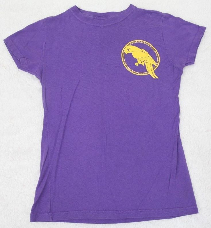 Woman With A Parrot T-Shirt Short Sleeve Solid Crewneck Tee Small Purple Womens #Parrot #GraphicTee