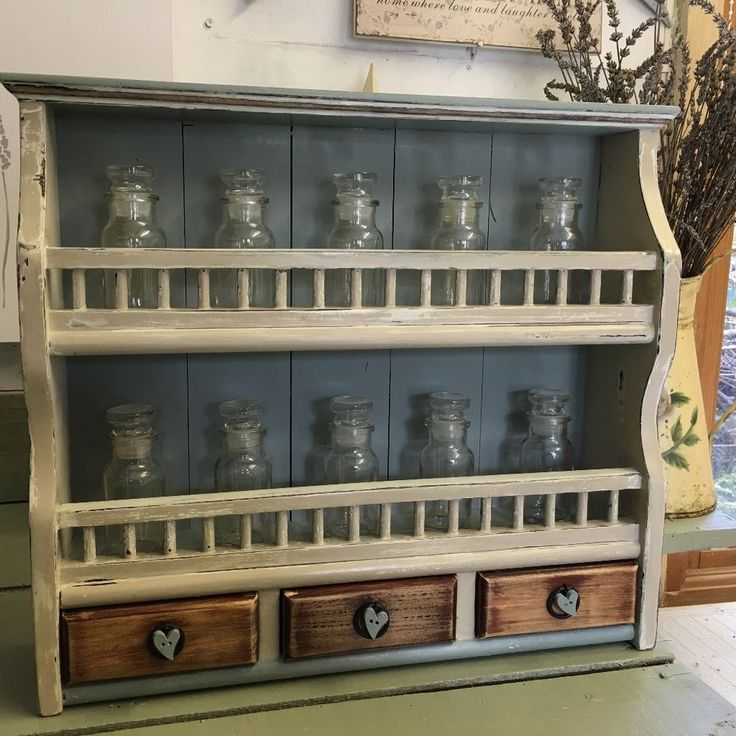 Shabby chic Spice Rack Unit Display Annie Sloan Paint Wax French Farmhouse Style