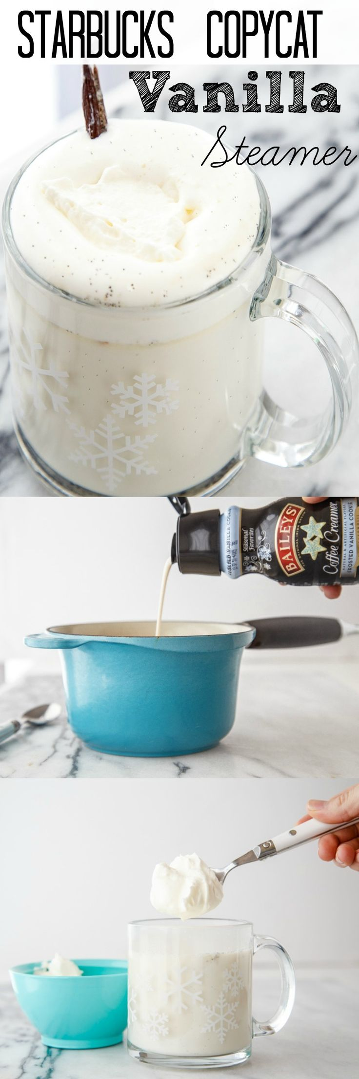 Copycat Starbucks drink: Vanilla Steamer. So rich and foamy, but caffeine free!