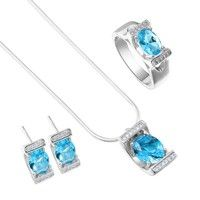 Wish | Bling Blue Topaz Pendant Necklace Earrings Ring Set 925 Sterling Silver Jewelry Ring Size 6 7 8 9