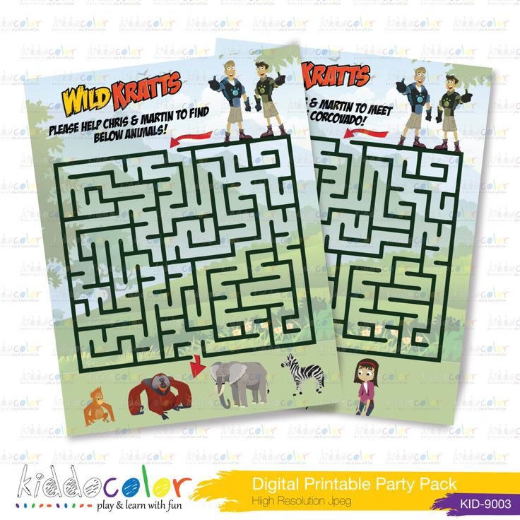 Printable Birthday Game - Wild Kratts Maze by kiddocolor on Etsy https://www.etsy.com/listing/234038141/printable-birthday-game-wild-kratts-maze