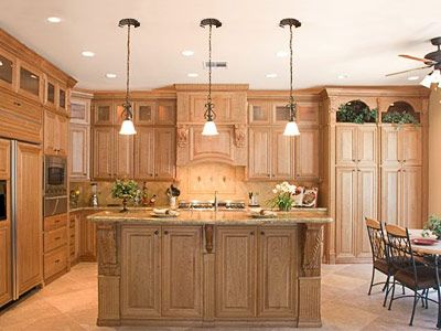 95 best kitchen ideas images on pinterest dream kitchens for Cherry kitchen cabinets with glass doors