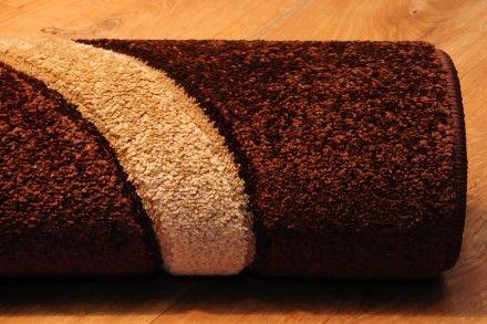 Dywan nowoczesny, ręcznie wycinany Kręgi mocca w kolorze brązów.
