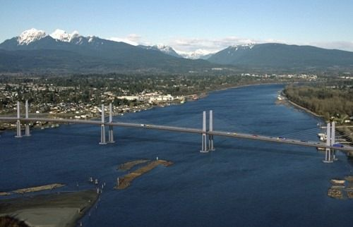 The Golden Ears Bridge is a six-lane extradosed bridge[3] in Metro Vancouver, British Columbia. It spans the Fraser River, connecting Langley on the south side with Pitt Meadows and Maple Ridge on the north side. The bridge opened to traffic on June 16, 2009.