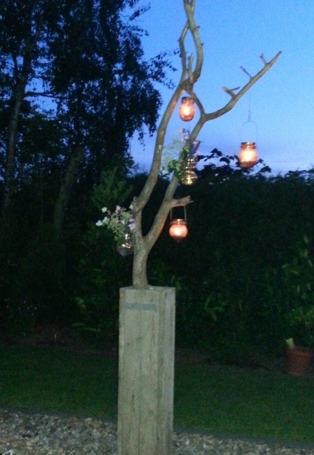 Gezellige zomeravonden. Mooie tak gevonden in het bos geplaatst in een hoge  bak van oude steigerplanken (klaar in 10 min)