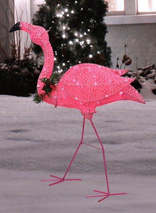 3 Pink Glittered Flamingo With Holly