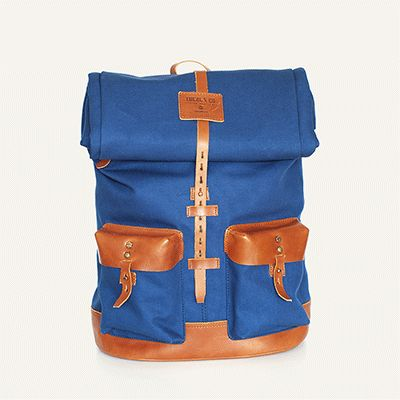 PEDREIRA BACKPACK - Imperial Blue // Waterproofed sandwiched Canvas - 100% Cotton + 100% Portuguese vegetable tanned leather.