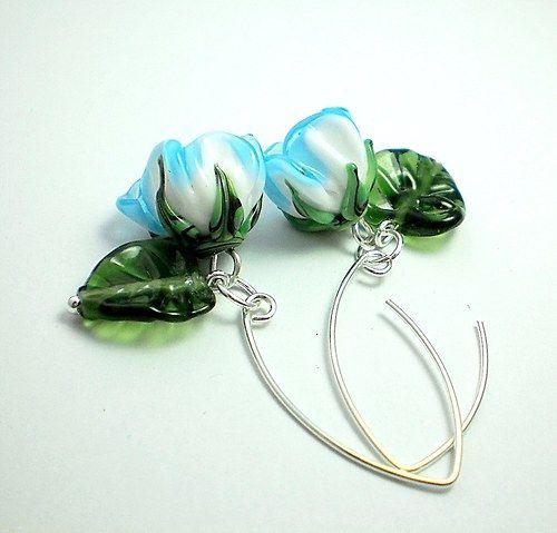 """Náušnice Pozdní do modra - vinutky + Ag 925"" (""Earrings Late Blueish - lampwork beads + Ag 925"") by jibadu"