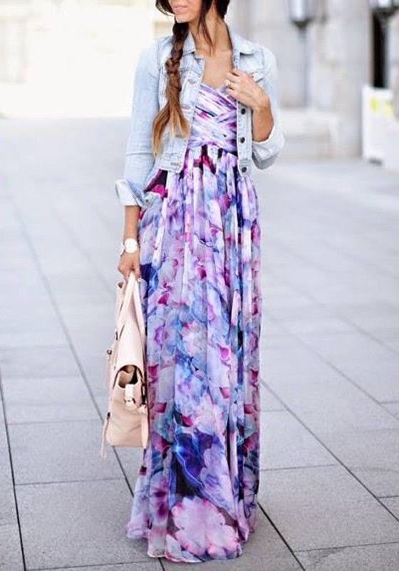 Multicolor Floral Pleated Bandeau Floor Length Bohemian Dress - Maxi Dresses - Dresses
