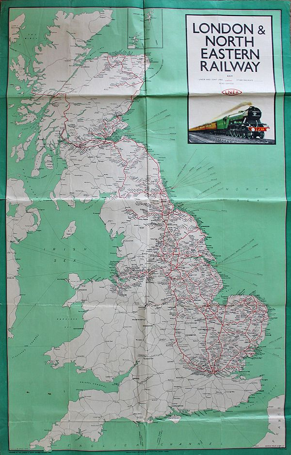 LNER Poster Map of the System with winking eye logo an a colour image of Gresley A3 N0 94 COLORADO. Fold with some other imperfections but overall good..17