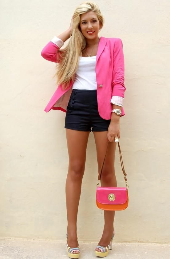 Great outfitBlack Shorts, Fashion, Summer Outfit, Bright Pink, High Waisted Shorts, Cute Outfits, Hot Pink, High Waist Shorts, Pink Blazers