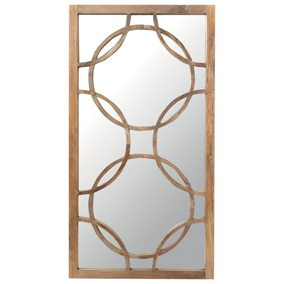 An hand-made rectangular mirror with a Recycled Elm frame and geometric pattern made from intersecting wooden circles. Elegant and very unique, the Inigo Mirror would work best as a decorative piece over a fireplace or along a corridor. A matching cabinet and sideboard are also available.