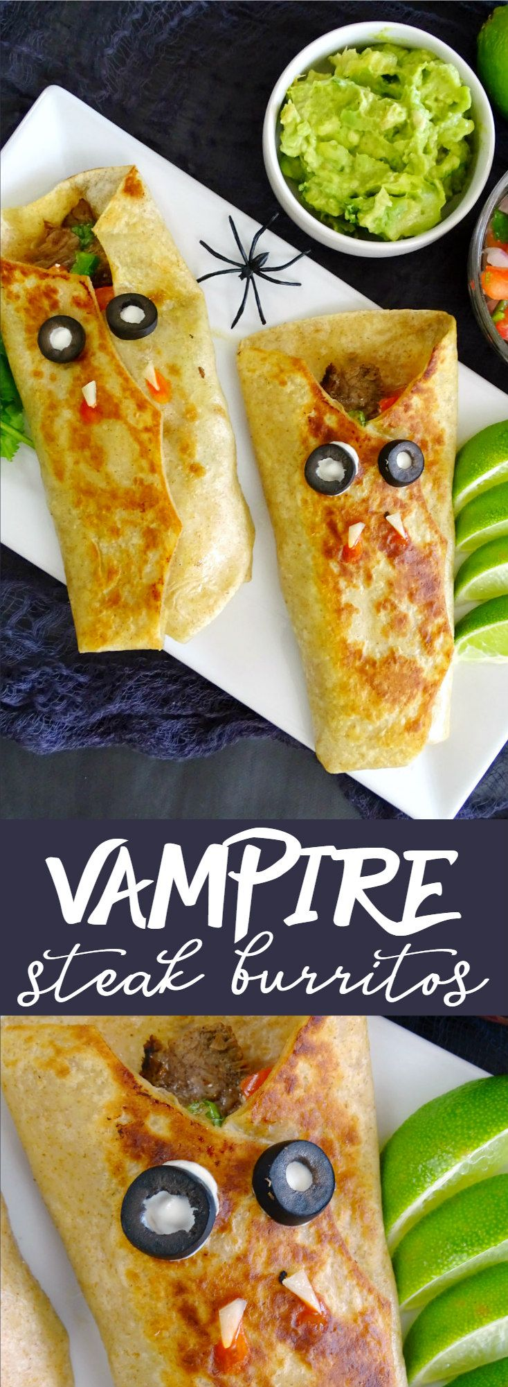 Sink your teeth into these Vampire Steak Burritos made with lime-garlic steak, pico de gallo, and Asiago cheese!
