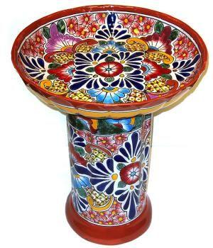 Colorful Talavera Birdbath