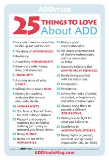 25 Things to love about #ADD #ADHD