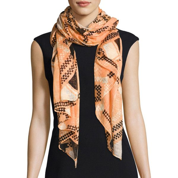 San Diego Hat Company Woven Geometric Scarf ($36) ❤ liked on Polyvore featuring accessories, scarves, orange, braided scarves, rayon scarves, orange shawl, orange scarves and woven scarves