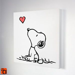 Details about Snoopy Dog Pink Heart Painted Stencil Pop Art On Canvas ...